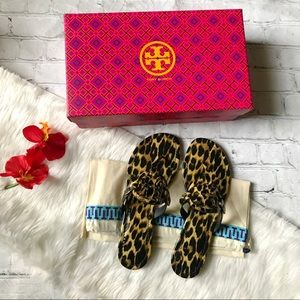 Tory Burch Leopard Patent Leather Miller Sandals